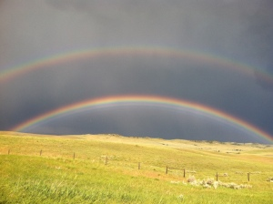 Rainbow spanning the Wyoming-Montana State Line