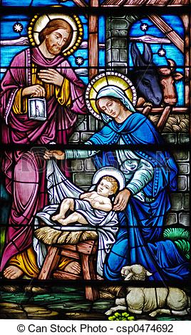 Joseph manger stained glass